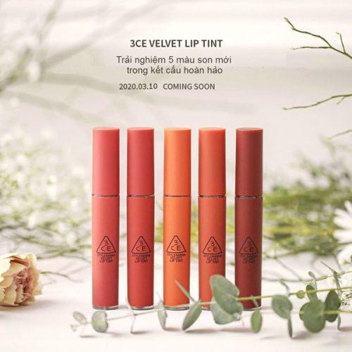 Son kem li 3CE Kem Velvet Lip Tint 5 new color 2020 trangstore